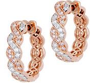 Natural Pink & White Diamond Hoop Earrings 14K, 3/4 cttw by Affinity - J349962