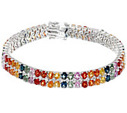 Colors of Sapphire & White Topaz 7-1/4 Sterling Tennis Bracelet - J350062