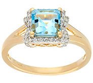 As Is Santa Maria Aquamarine & Diamond Ring, 14K Gold,0.75ct - J354362