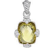 Judith Ripka Sterling Lemon Quartz & DiamoniqueEnhancer - J377162