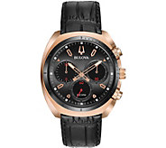 Bulova Mens CURV Chronograph Leather Strap Watch - J377562