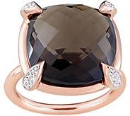14K 15.10 cttw Smoky Quartz & White Sapphire Ring - J377662