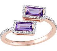 0.75 cttw Amethyst & 1/5 cttw Diamond Bypass Ring, 14K - J377762