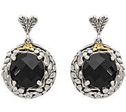 Sterling & 14K Gold Onyx Dangle Earrings - J378162