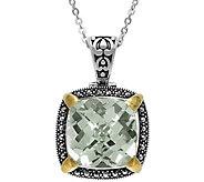 Suspicion Sterling Green Amethyst & Marcasite Pendant w/Chain - J379362
