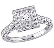 Affinity 14K Gold 1.25 cttw Princess-Cut Diamond Halo Ring - J381362