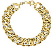 Italian Gold 8 Two-Tone Double Curb Link Bracelet 14K, 12.8g - J381562