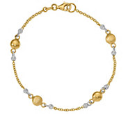 Italian Gold 7-1/2 Two-Tone Bead Station Bracelet 14K, 3.7g - J381662