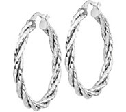 Italian Gold 1-1/4 Twisted Hoop Earrings 14K,2.2g - J382262