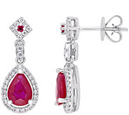 14K Gold 1.75 cttw Ruby & Diamond Pear Drop Earrings - J382362