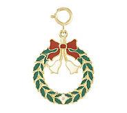 Enamel Christmas Wreath Charm, 14k - J107163