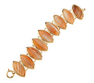 Large Marquise Shaped Brazilian Agate Bracelet 14K Gold - J270563