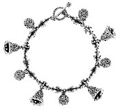 As Is Novica Bells & Chimes Sterling Charm Bracelet, 34.5g - J286763