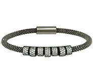 VicenzaSilver Sterling Diamonique Station Beaded Mesh Bracelet - J288263