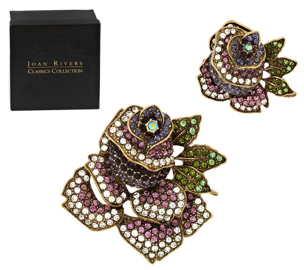 Joan Rivers Set of 2 Pave' Rose Brooches - J293163