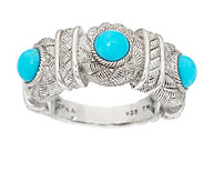 Judith Ripka Sterling Ring with 3 Turquoise Cabochons - J293763