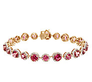 10.00 ct tw Pink Tourmaline & 1.10 ct tw Diamond 7-1/4 Bracelet, 14K - J294763