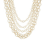Multi-Strand Round & Oval Textured Link Necklace - J296863