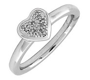Simply Stacks Sterling & Diamond Heart ClusterRing - J299263