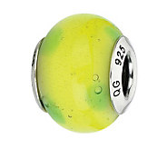 Prerogatives Green with Green Dots Italian Murano Glass Bead - J300163