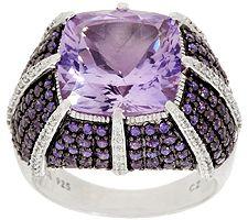 Judith Ripka 1.90 ct tw Diamonique & 7.20 ct Gemstone Ring