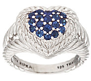 Judith Ripka Sterling Pave 0.60 ct Sapphire Heart Ring - J318363