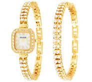 As Is Joan Rivers Red Carpet Classic Crystal Watch & Bracelet Set - J324263
