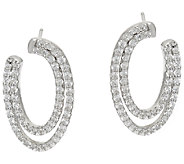 Diamonique Swirl Design Earrings, Sterling - J326063