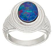 Australian Opal Triplet Sterling Silver Textured Ring - J326463