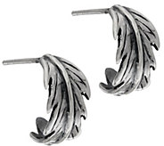 Hagit Sterling Silver Feather Hoop Earrings - J328463