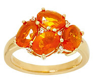 Exotic Gemstone Cluster Design Sterling & 14K Plated Ring - J329363
