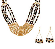 Linea by Louis DellOlio Multi-bead Necklace & Earring Set - J329563