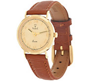 As Is Vicence Gold Round Case Leather Strap Watch 18K Gold - J329863