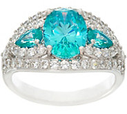 Diamonique Three Stone Simulated Apatite Ring, Sterling - J330463