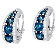 Judith Ripka Sterling 5.00 cttw Blue Topaz Tapered Hoop Earrings - J330563