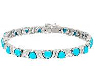 As Is Sleeping Beauty Turquoise Heart Cut 7-1/4Sterl Tennis Bracelet - J332863