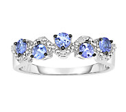 1/2cttw Tanzanite & White Topaz Band Ring, Sterling - J338663