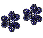 1.85ct Simulated Blue Sapphire Flower Stud Earrings, Sterling - J339163