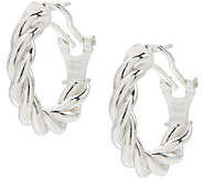 UltraFine Silver 3/4 Twisted Omega Back Hoop Earrings - J339963