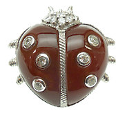 Judith Ripka Sterling Dyed Cornelian Lady Bug P in - J340163