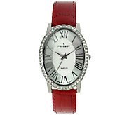 Peugeot Womens Silvertone & Red Leather StrapWatch - J341163