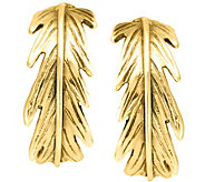 Hagit Sterling and 14K Clad 3/4 Feather Hoop Earrings - J341863