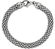 Sterling Silver Beaded Mesh 7-3/4 Bracelet by Silver Style - J342063