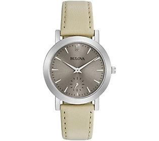 Bulova Women's White Leather Strap Watch
