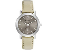 Bulova Womens White Leather Strap Watch - J343863