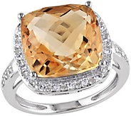 6.20 ct Citrine & 1/10 cttw Diamond Ring, 14K White Gold - J344063