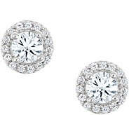 Round Halo Earrings, 14K White Gold, 1/4 cttw,by Affinity - J345263