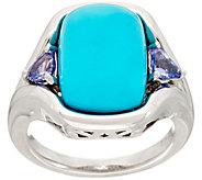 Kingman Turquoise and Tanzanite Sterling Ring - J347763