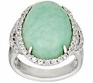 Burmese Jade & White Zircon Sterling Silver Ring 0.75 cttw - J348163