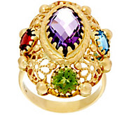 As Is Arte d Oro 6.00 cttw Multi-gemstone Oval Ring 18K Gold - J348763